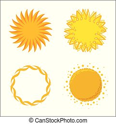 logotipos, quatro, isolated., sol, icons., geométrico, símbolos, ou