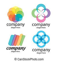 logotipos, resumen, solución