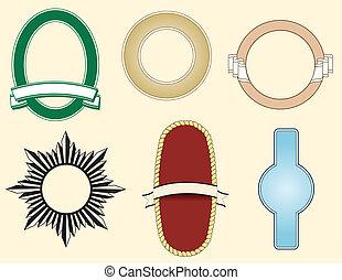 logotipos, seis, elementos