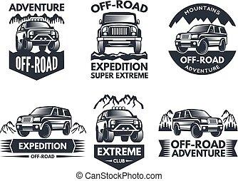 logotipos, symbols., desligado, carros, etiquetas, suv, 4x4, truck., ou, estrada