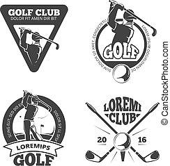 logotipos, taco golfe, vindima, etiquetas, vetorial, emblemas, emblemas