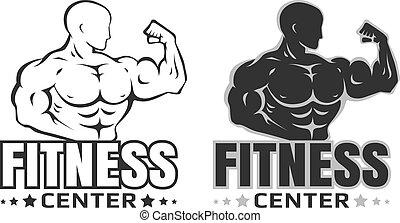 logotipos, vector, conjunto, bodybuilding.