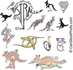 logotipos, viagem, austrália