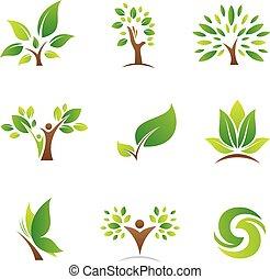logotipos, vida, árvore, ícones