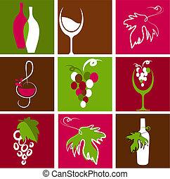 logotipos, vinho, cobrança, ícones