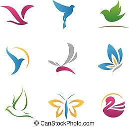 logotipos, voando, ícones