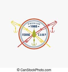 logotype., κατασκηνώνω , μικροβιοφορέας , ψάρεμα , εικόνα