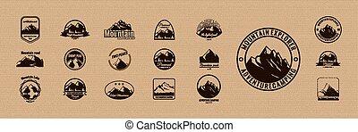logotype., 山, 集合, logos., retro