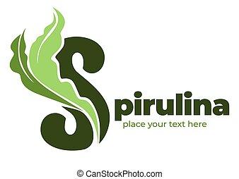 logotype, 海草, 食物, 極度, spirulina, 有機体である, 原料