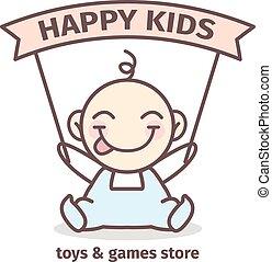 logotype., bébé, couleurs, vecteur, jeux, jouets, tendre, logo, magasin