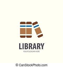 logotype, bibliothèque, simple, conception, logo, idée, business, company.