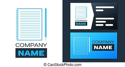 Logotype Blank notebook and pencil with eraser icon isolated on white background. Logo design template element. Vector