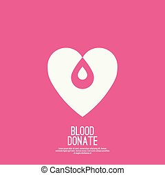 logotype blood donation, help the sick and needy. Heart with...