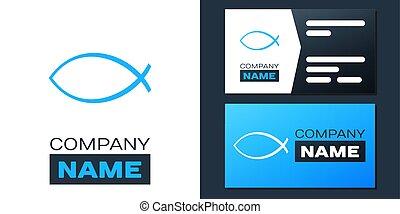 Logotype Christian fish symbol icon isolated on white background. Jesus fish symbol. Logo design template element. Vector.