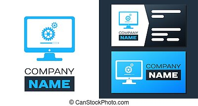 Logotype Computer monitor update process with gear progress and loading bar icon isolated on white background. Adjusting, setting, maintenance, repair. Logo design template element. Vector