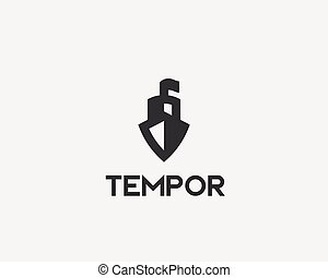 logotype., créatif, vecteur, logo, bateau, bateau, icône