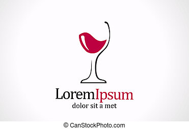 logotype., creativo, vidrio, vector, diseño, logotipo, template., vino