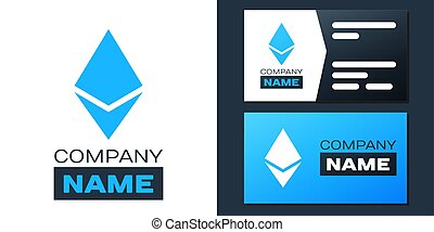 Logotype Cryptocurrency coin Ethereum ETH icon isolated on white background. Digital currency. Altcoin symbol. Blockchain based secure crypto currency. Logo design template element. Vector.