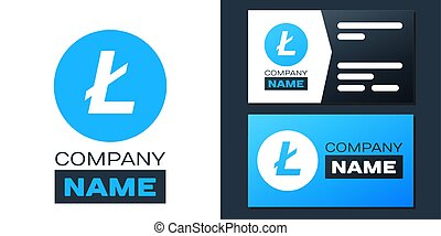 Logotype Cryptocurrency coin Litecoin LTC icon isolated on white background. Digital currency. Altcoin symbol. Blockchain based secure crypto currency. Logo design template element. Vector.