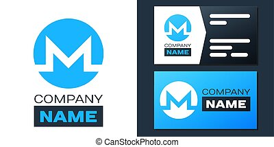 Logotype Cryptocurrency coin Monero XMR icon isolated on white background. Digital currency. Altcoin symbol. Blockchain based secure crypto currency. Logo design template element. Vector.