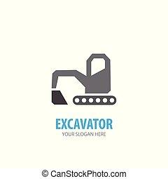 logotype, excavateur, simple, conception, logo, idée, business, company.