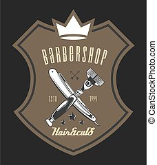 Logotype for barbershop in the form of badge or label. Barber shop logo, emblem with crossed razors