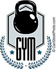 Logotype for heavyweight gym or fitness sport gymnasium, retro style vector emblem. With kettlebell.