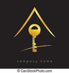 logotype, llave, para, bienes raíces