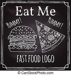 logotype, me., restaurang, business., teckning, förgrena, tema, burger, logo, emblem, äta, vektor, krita, blackboard., pizza., symbol., mat, fasta, elementara, illustration.