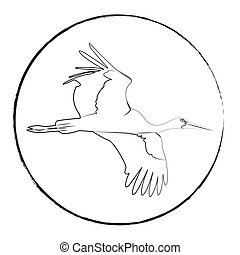 logotype of a stork, black outline on a white background