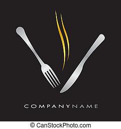 logotype, para, restaurante, menu