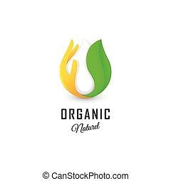 logotype., resumen, kefir, palma, leche, crema, hoja, aislado, vector, lechería, naranja, productos, blanco, logo., signo., orgánico, illustration., gota, agrio, verde, fresco, icon., o