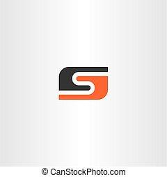 logotype, s, czarnoskóry, litera, pomarańcza, logo, ikona