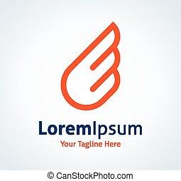 logotype, sinaasappel, vector, vleugel, eenvoudig