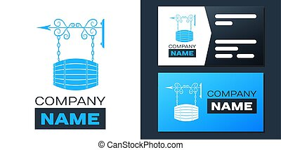 Logotype Street signboard on forged brackets with barrel shaped wooden icon isolated on white background. Suitable for bar, cafe, pub, restaurant. Logo design template element. Vector
