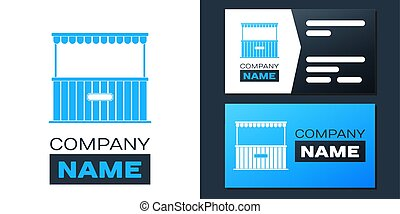 Logotype Street stall with awning and wooden rack icon isolated on white background. Kiosk with wooden rack. Logo design template element. Vector