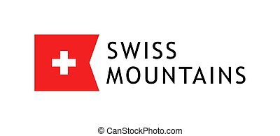 Logotype template for tours to swiss mountains, Vector lovable illustration with national flag of Switzerland.