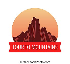 Logotype template with Mountains at sunset, Vector landscape illustration.