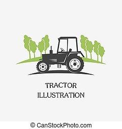 logotype, trator, -, vetorial, ilustração