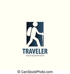 logotype, viaggiatore, semplice, disegno, logotipo, idea, affari, company.