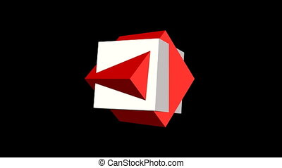 Logotype video. Two cubes, static red box and rotating white...