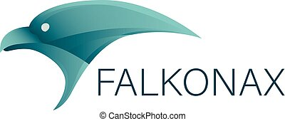 Logotype with falcon head and company name
