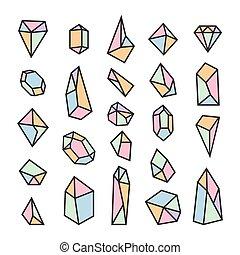 logotypes., セット, 形, 要素, crystals., 最新流行である, デザイン, 幾何学的