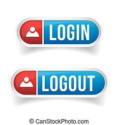 logout, ログイン, ベクトル, セット, ボタン