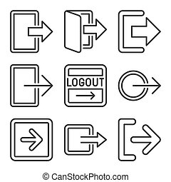 Logout and Exit Arrow Icons Set on White Background. Line Style Vector