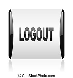 logout black and white square web glossy icon