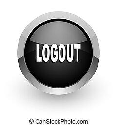 logout black chrome glossy web icon