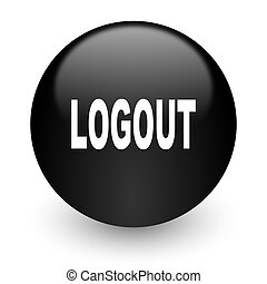 logout black glossy internet icon