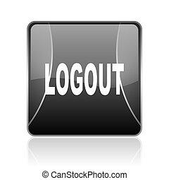 logout black square web glossy icon