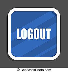 Logout blue flat design square web icon